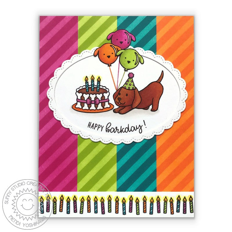 Sunny Studio Happy Barkday Dog themed Birthday Card featuring Fancy Frames Stitched Scallop Oval Dies