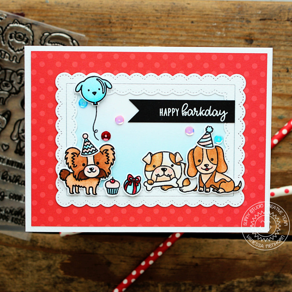 Sunny Studio Stamps Dog Birthday Card using Fancy Frames Stitched Scalloped Rectangle Dies
