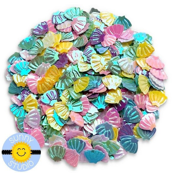 Sunny Studio  Stamps Iridescent Pastel Seashell Confetti Sequins for Shaker Cards,  Scrapbooking  & Paper Crafts