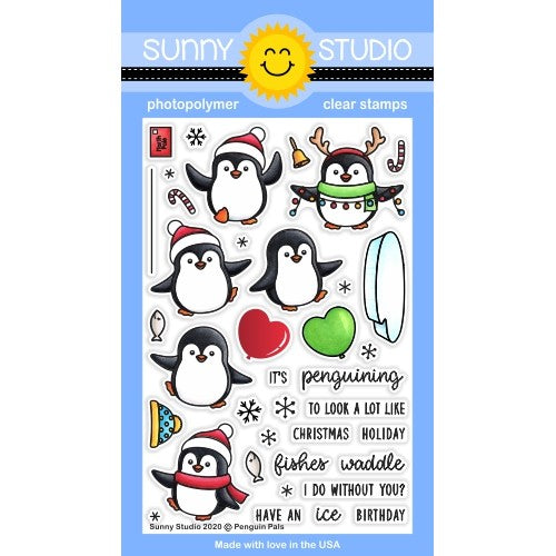 Sunny Studio Stamps Penguin Pals 4x6 Winter Holiday Christmas Clear Photopolymer Stamp Set