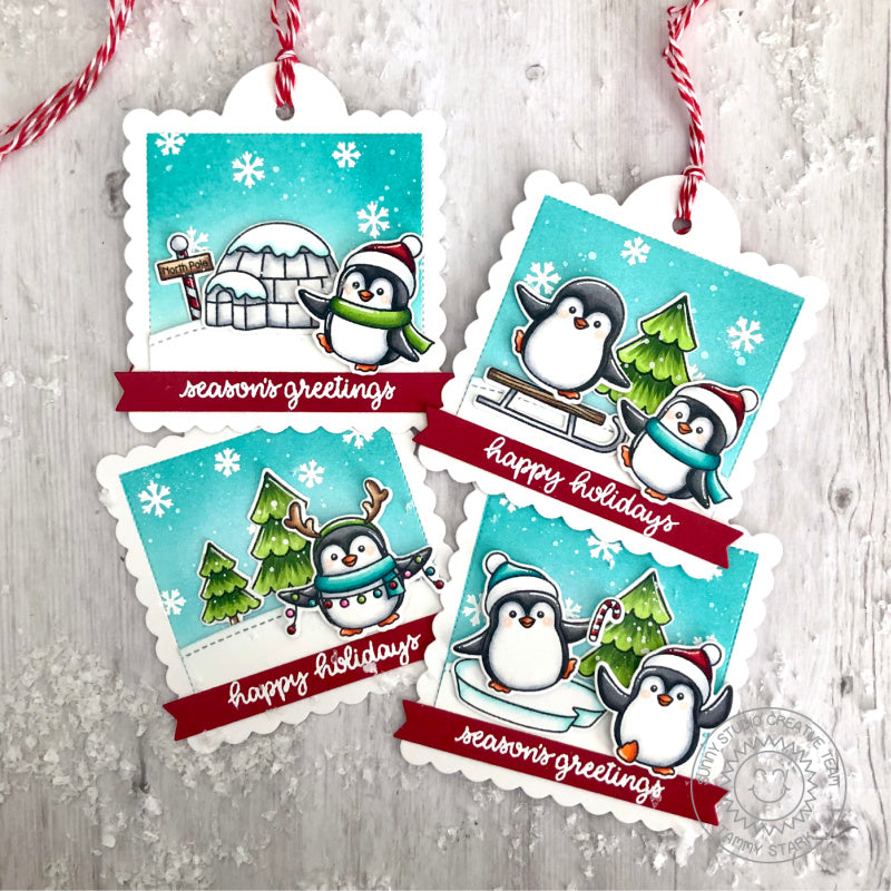 Sunny Studio Stamps Penguin Handmade Christmas Holiday Gift Tags (using Scalloped Square Tag Metal Cutting Dies)
