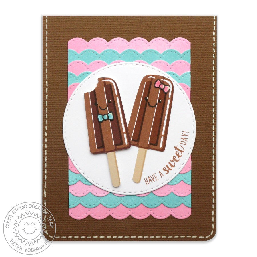 Sunny Studio Stamps Popsicle Card with Stitched Scalloped Background