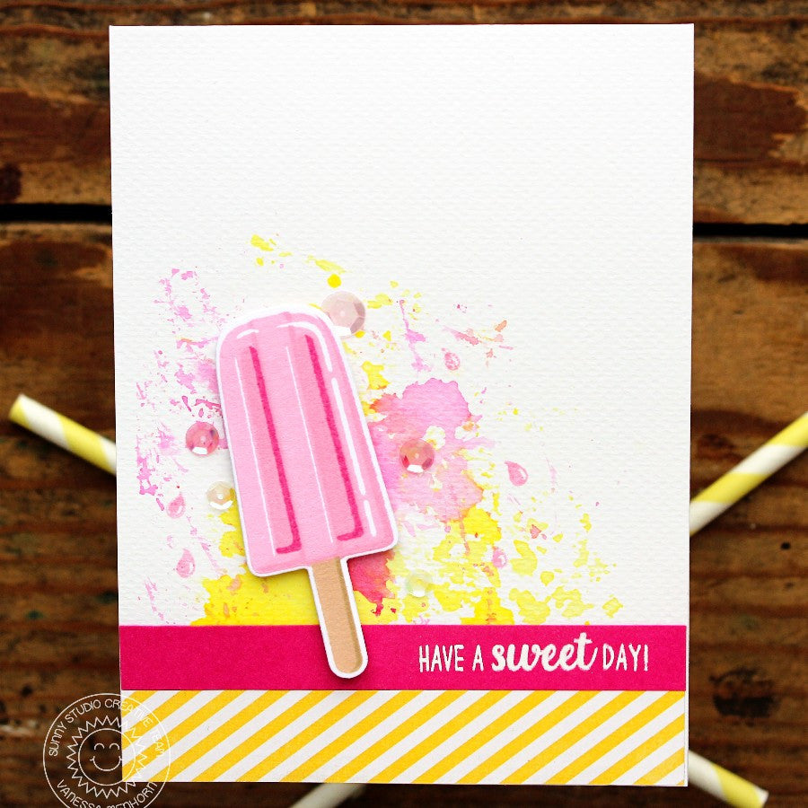 Sunny Studio Stamps Perfect Popsicles Yellow  & Pink Sweet Day Card