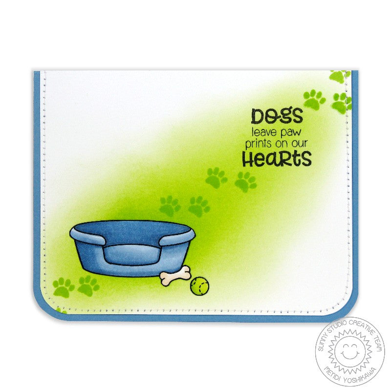 Sunny Studio Stamps Pet Sympathy Dogs Leave Paw Prints on Our Heart Dog Bed Card