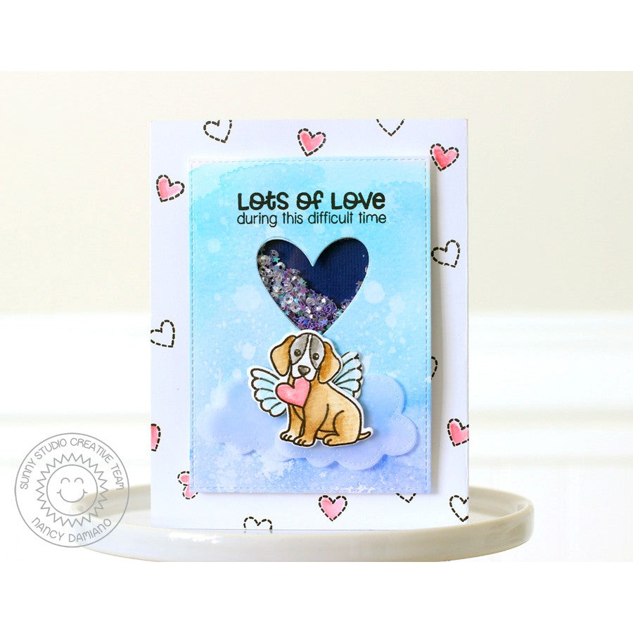 Sunny Studio Stamps Pet Sympathy Lots of Love Puppy Dog Angel Card