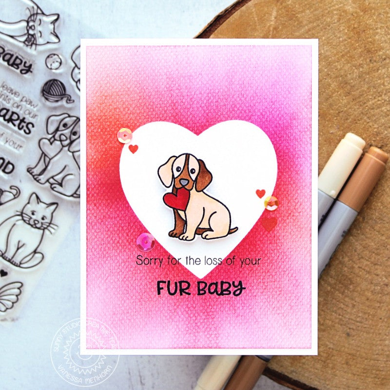 Sunny Studio Stamps Pet Sympathy Fur Baby Dog in Heart Card