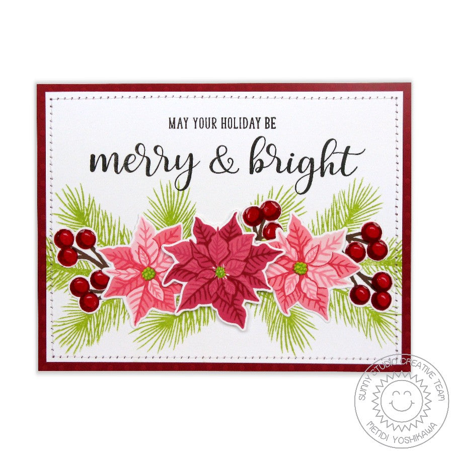 Sunny Studio Stamps Festive Greetings Merry & Bright Poinsettia Christmas Card