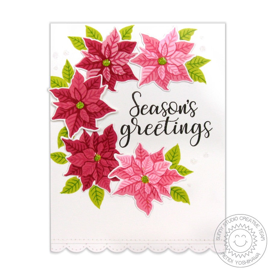 Sunny Studio Stamps Petite Poinsettias Seasons Greetings Crescent Wreath Christmas Card