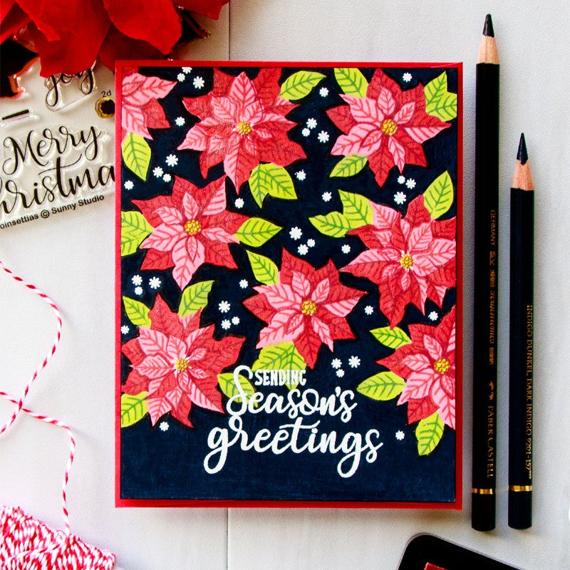 Sunny Studio Festive Season's Greetings Poinsettia Christmas Card