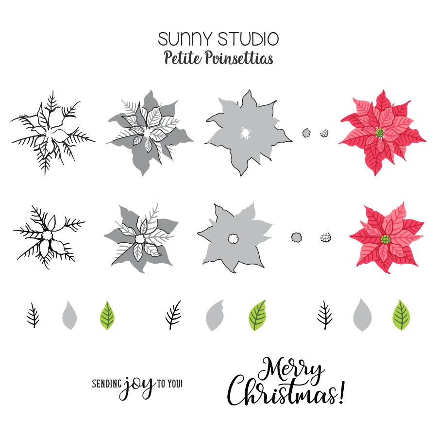 Sunny Studio Stamps Petite Poinsettias Holiday Flower Layering Guide