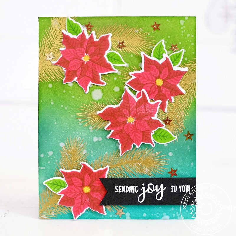 Sunny Studio Festive Greetings Sending Joy To You Christmas Card by Lexa Levana
