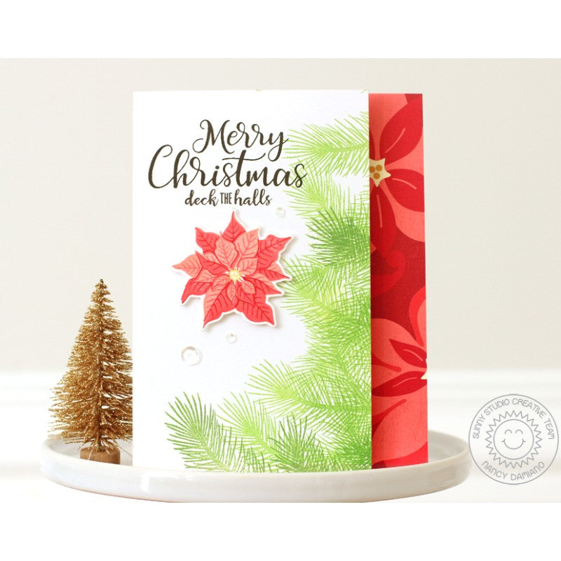 Sunny Studio Stamps Petite Poinsettias Merry Christmas Card by Nancy Damiano