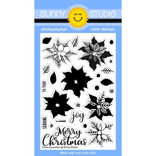 Sunny Studio Stamps Petite Poinsettias 4x6 Photo-Polymer Christmas Holiday Flower Layering Stamp Set
