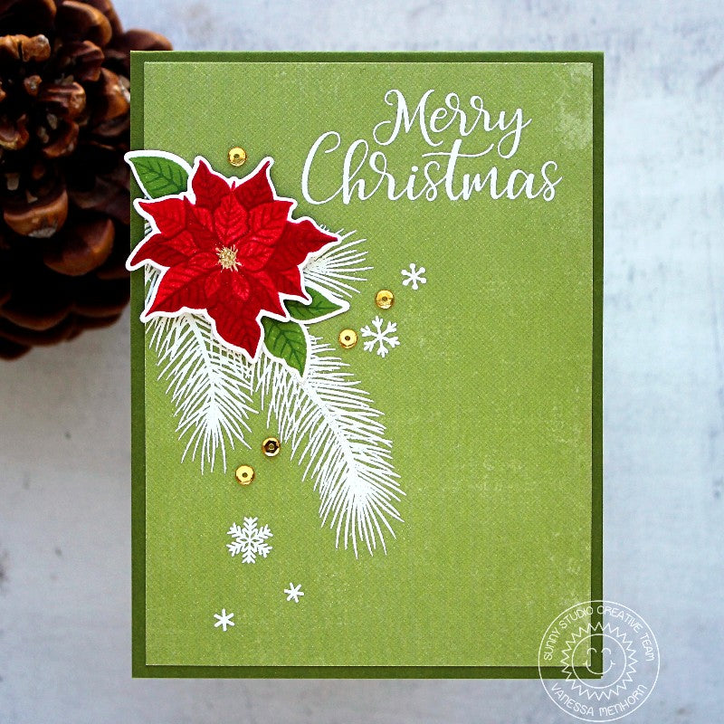 Sunny Studio Stamps Petite Poinsettias Red, Green & White Christmas Card by Vanessa