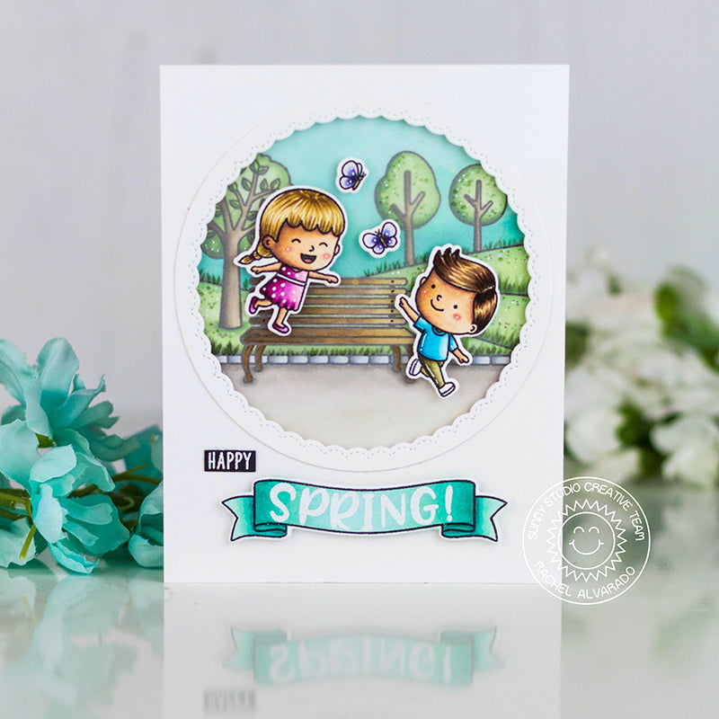 Sunny Studio Stamps Happy Spring Kids Playing At The Park Handmade Card (using Phoebe Alphabet & Numbers 4x6 Hand print Clear Photopolymer Stamp Set)
