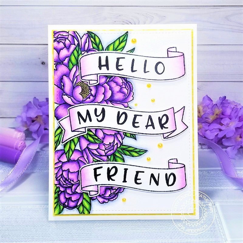 Sunny Studio Stamps Hello My Dear Friend Banner Purple Peony Handmade Spring Card (using Pink Peonies 4x6 Clear Stamps)