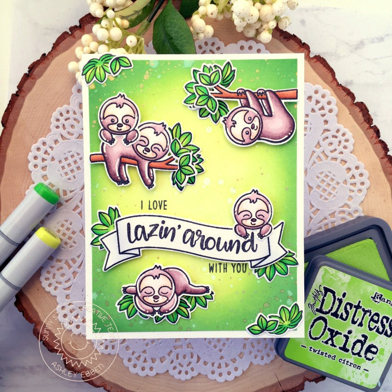 Sunny Studio Stamps Silly Sloths Jungle Themed Card by Ashley Ebben (using Banner Basics Stamps)