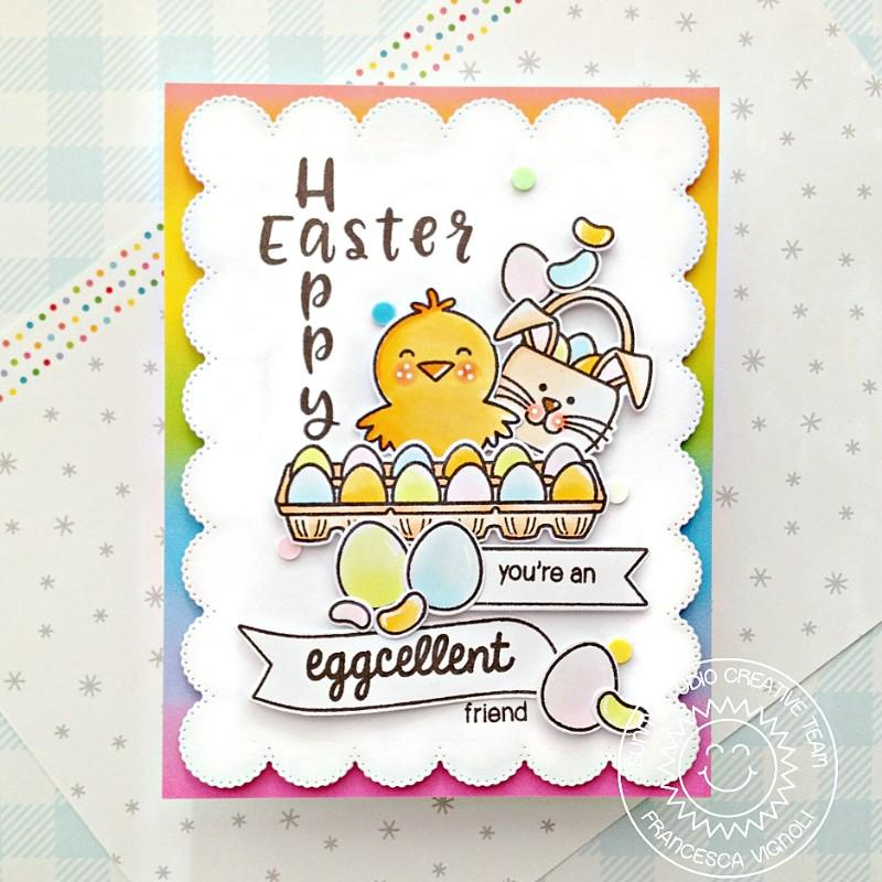 Sunny Studio Happy Easter Spring Chick with Rainbow Eggs Handmade Card with Custom Sentiment Greeting (using Phoebe 4x6 Clear Stamps)