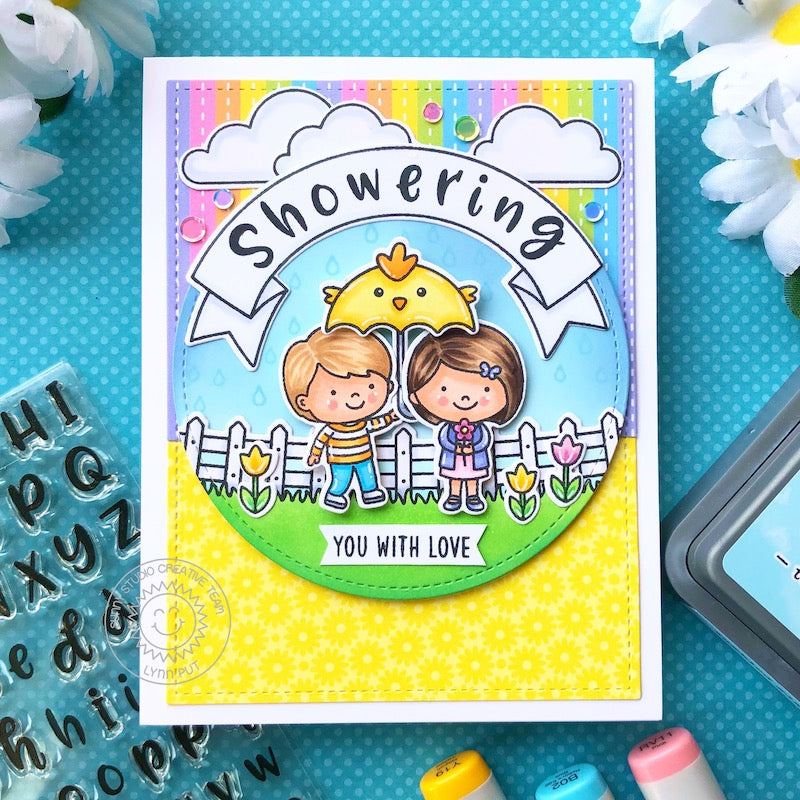 Sunny Studio Stamps Spring Showers Kids with Chick Umbrella Showering You With Love Rainbow Handmade Card by Lynn Put