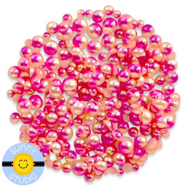 Sunny Studio Stamps Pink , Peach  & Yellow Ombre 2-Tone Loose Flat Back Half Pearls Embellishments- 3mm, 4mm, 5mm & 6mm