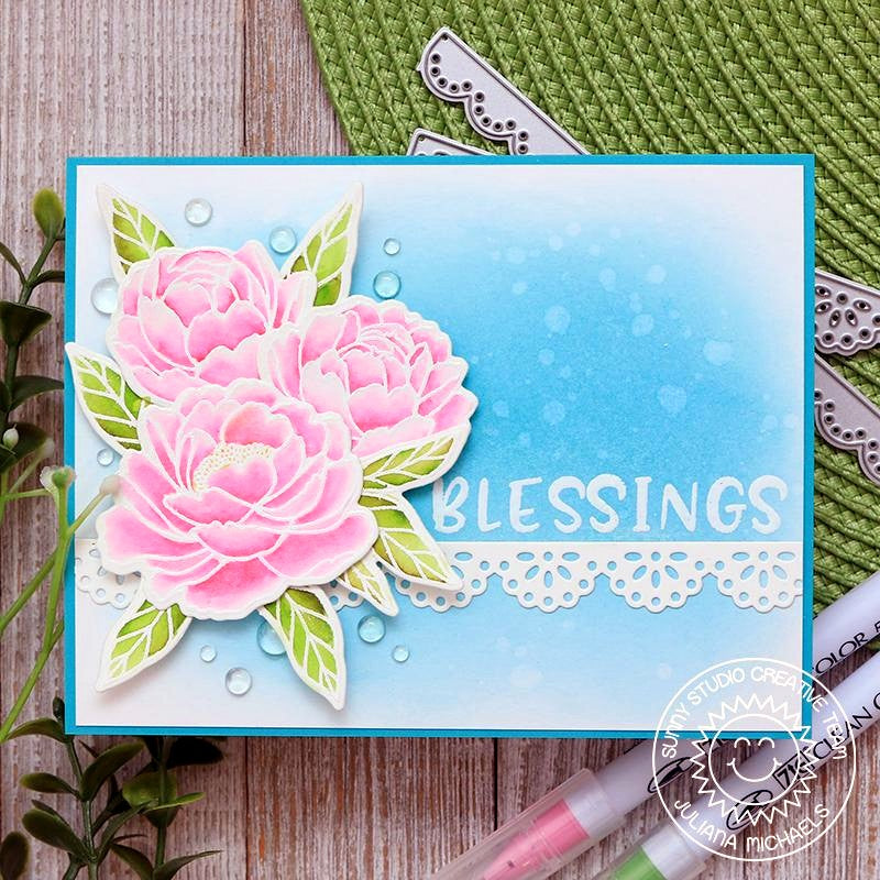 Sunny Studio Stamps Blue & Pink Watercolor Peony Flower Handmade Blessing Card (using Eyelet Lace Border Scalloped Metal Cutting Dies)
