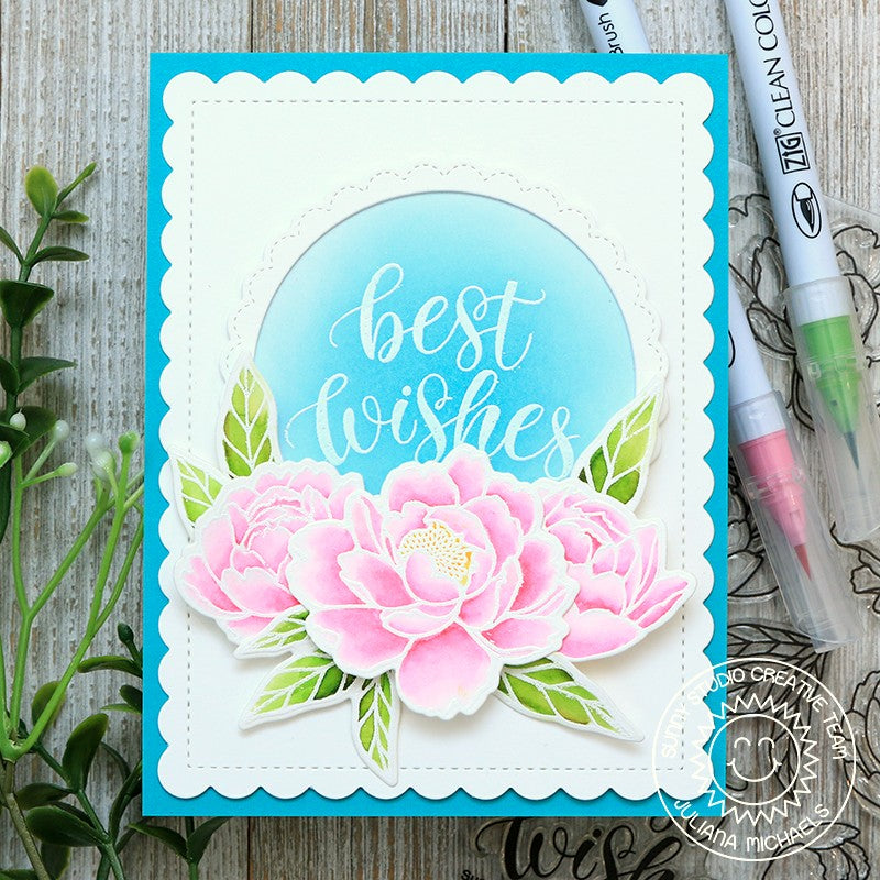 Sunny Studio Stamps Best Wishes Watercolor Peony Handmade Wedding Card (using Pink Peonies 4x6 Clear Photopolymer Stamp Set)