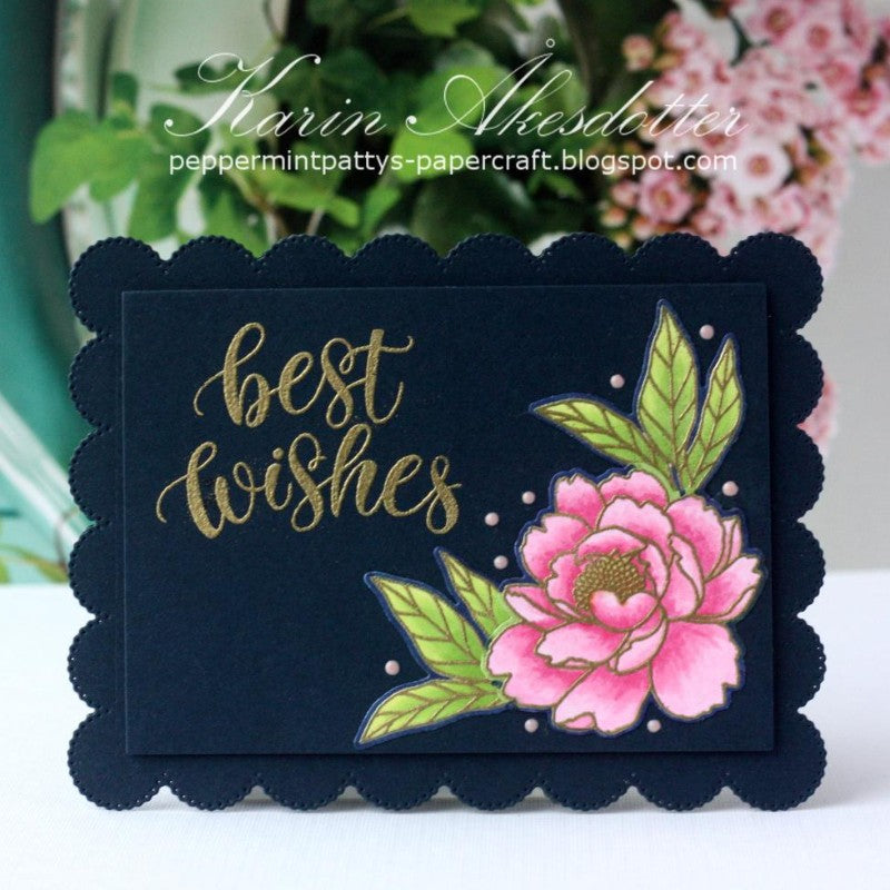 Sunny Studio Stamps Navy & Pink Scalloped with Gold Embossing Floral Peony Flower Handmade Spring Card (using Pink Peonies 4x6 Photopolymer Clear Stamps)