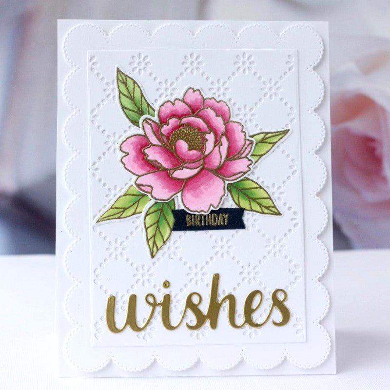 Sunny Studio Stamps White Eyelet Lace Floral Peony Flower Handmade Spring Birthday Wishes Card (using Pink Peonies 4x6 Photopolymer Clear Stamps)