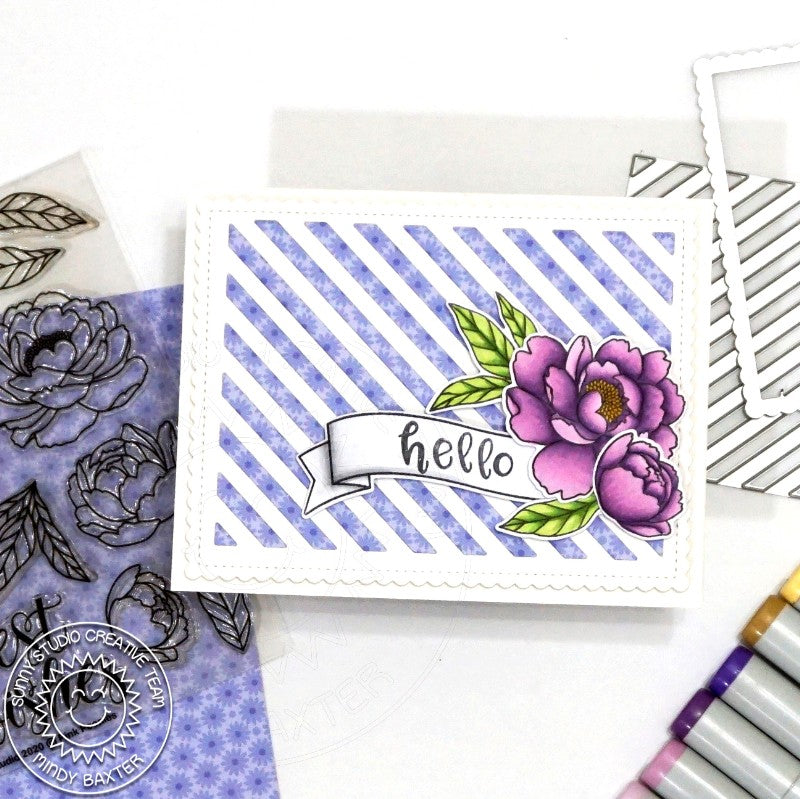 Sunny Studio Stamps Spring Hello Purple Peonies Floral Peony Striped Handmade Card (using Phoebe Alphabet & Numbers 4x6 Hand print Clear Photopolymer Stamp Set)