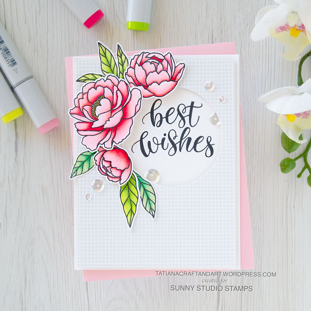 Sunny Studio Stamps Peony Flower Clean & Simple Handmade Best Wishes Card (using Pink Peonies 4x6 Clear Photopolymer Stamp Set)