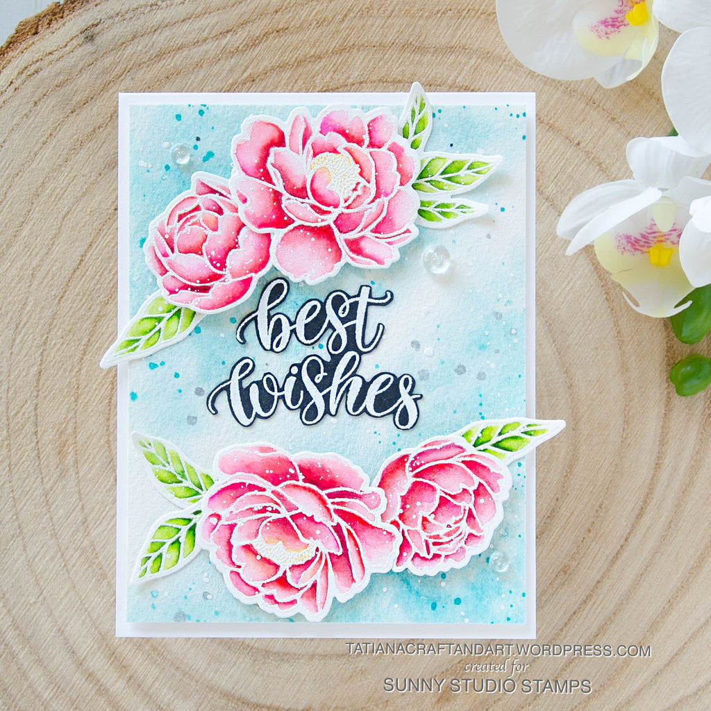 Sunny Studio Stamps Watercolor Peony Best Wishes Handmade Card (using Pink Peonies 4x6 Clear Photopolymer Stamp Set)