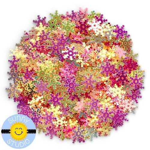 Sunny Studio Stamps Pink & Yellow Snowflake Sequins Embellishments for Shaker Cards