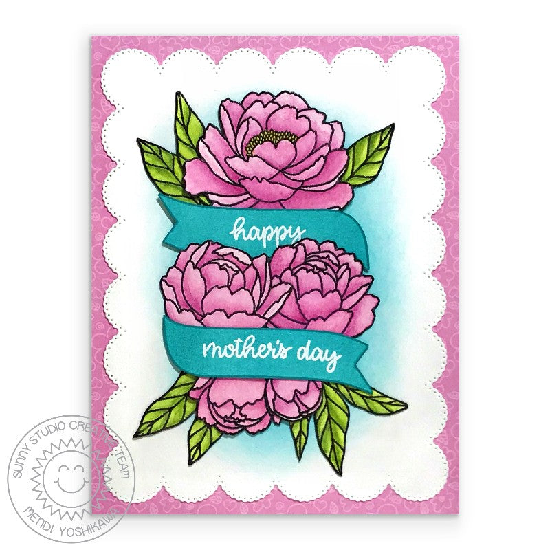 Sunny Studio Stamps Pink Peonies Floral Mother's Day Card (using Frilly Frames Eyelet Lace Scalloped Mat)