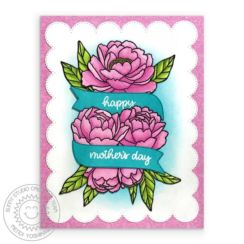 Sunny Studio Stamps Pink Peonies Floral Mother's Day Card (using Banner Basics 4x6 Stamps)