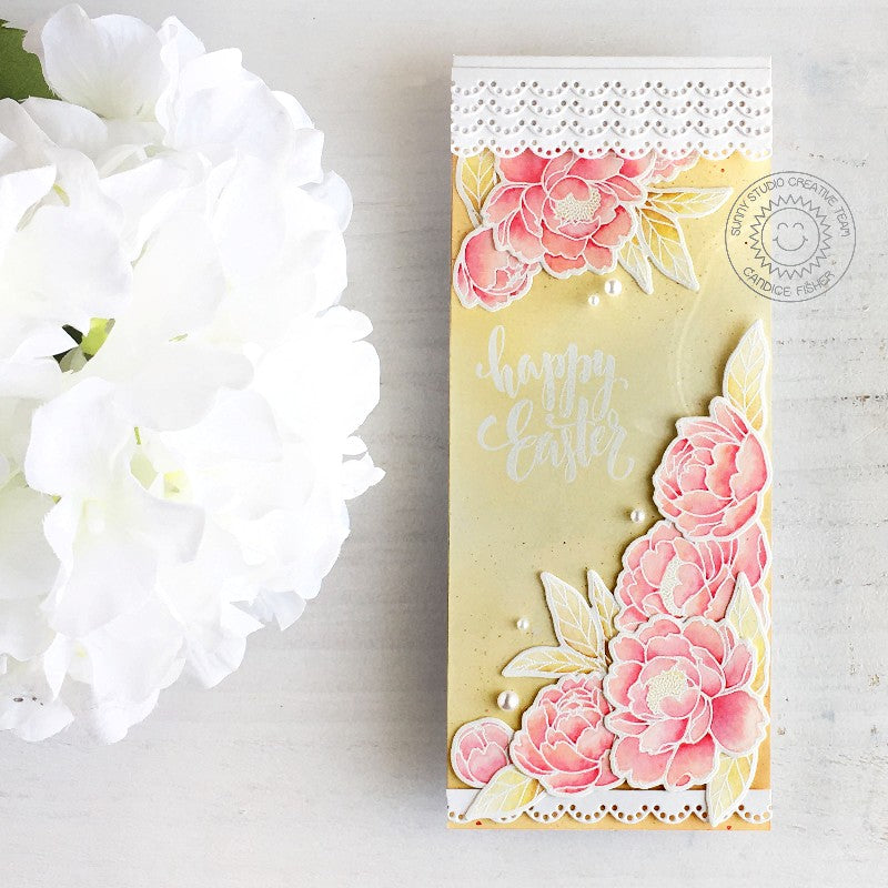 Sunny Studio Stamps Yellow Peony Eyelet Lace Handmade Spring Easter Slimline Card by Candice Fisher (using Pink Peonies 4x6 Clear Stamps)