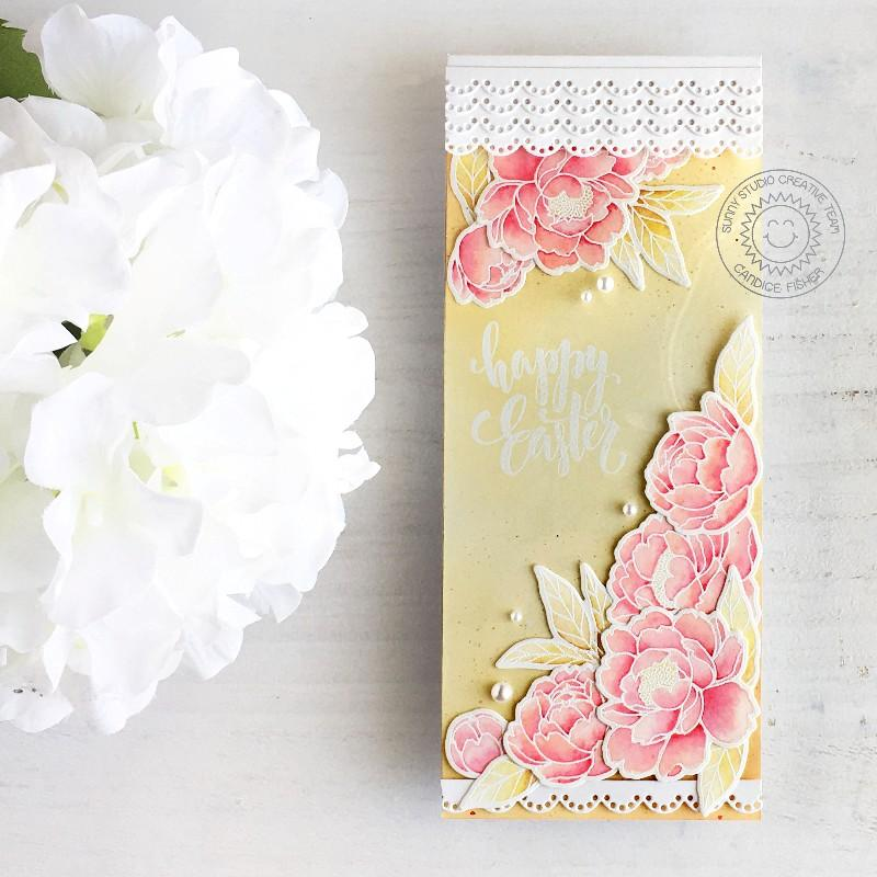 Sunny Studio Stamps Scalloped Pink Peonies Peony Handmade Card (using Eyelet Lace Border Cutting Dies)