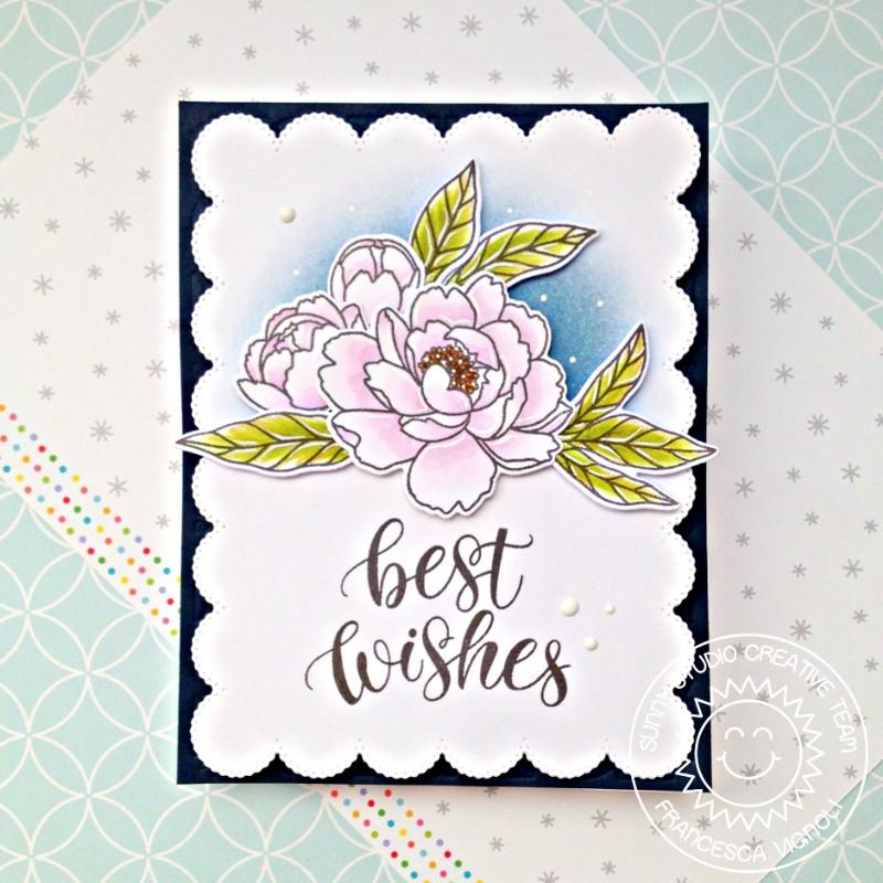 Sunny Studio Stamps Best Wishes Pink Peonies Scalloped Wedding Card (using Frilly Frames Eyelet Lace Background Backdrop Cover Plate Cutting Die)