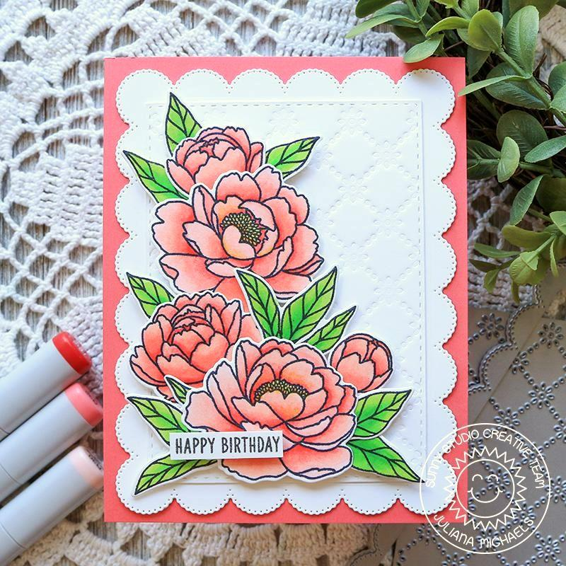 Sunny Studio Stamps Peonies Embossed Scalloped Handmade Spring Card (using Frilly Frames Eyelet Lace Background Backdrop Cutting Dies)