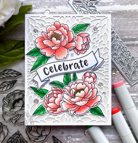 Sunny Studio Stamps Pink Peonies Floral Card with Celebrate Banner (using Phoebe Alphabet Stamps)