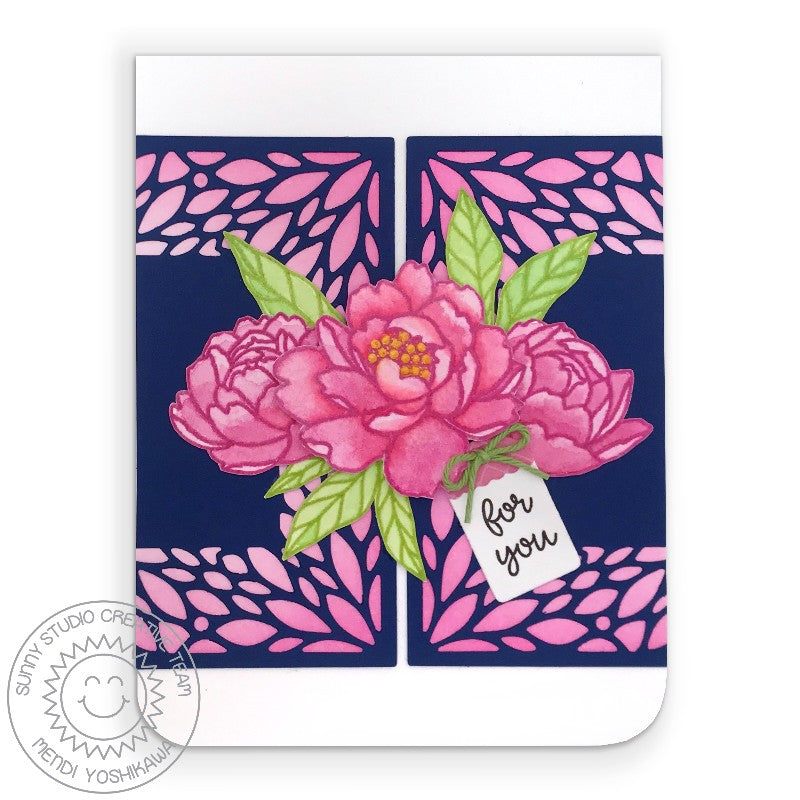 Sunny Studio Stamps Hot Pink & Navy Peonies Watercolor Handmade Card (using Blooming Frame Background Dies)