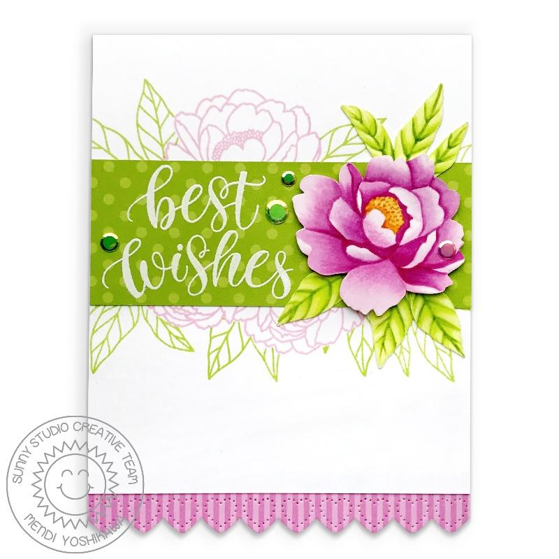 Sunny Studio Stamps Best Wishes Pink Peonies Handmade Floral Wedding Card (using Scalloped Heart Border from Heartstrings Border dies)