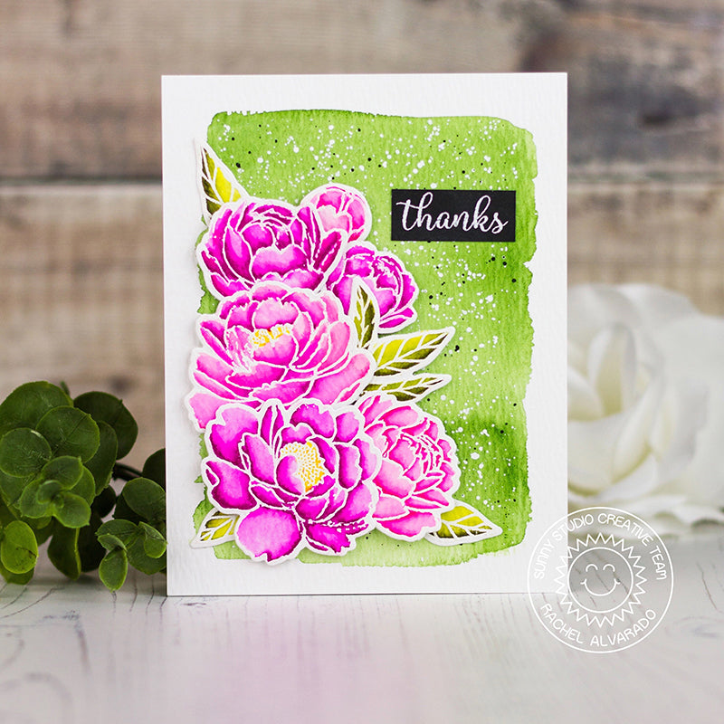 Sunny Studio Stamps Watercolor Peony Lime Green & Hot Pink Handmade Spring Thank You Card (using Pink Peonies 4x6 Clear Stamps)