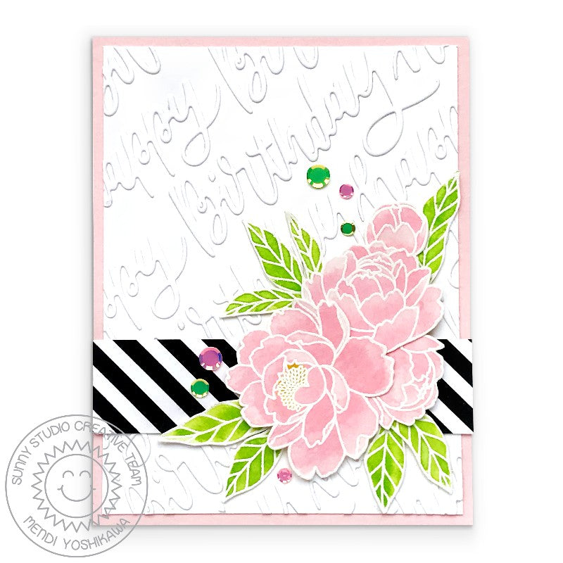 Sunny Studio Stamps Pink Peonies Watercolor Handmade Birthday Card with Black & White Striped Border (using Blooming Frame Background Dies)