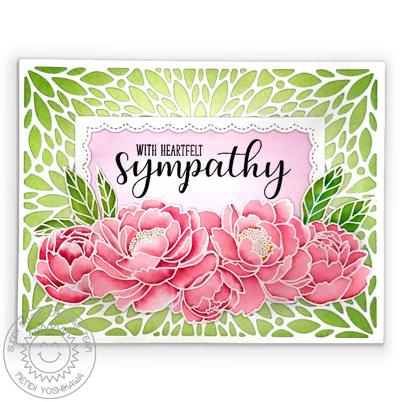 Sunny Studio Stamps Pink & Green Peonies Watercolor Handmade Sympathy Card (using Blooming Frame Background Dies)