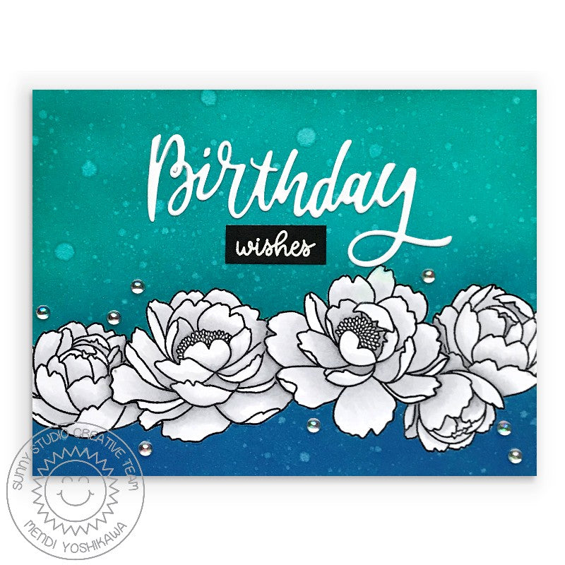 Sunny Studio Stamps Birthday Wishes Teal, Navy Blue, Black & White Peonies Floral Card (using Happy Birthday script greeting from Blooming Frame Dies)