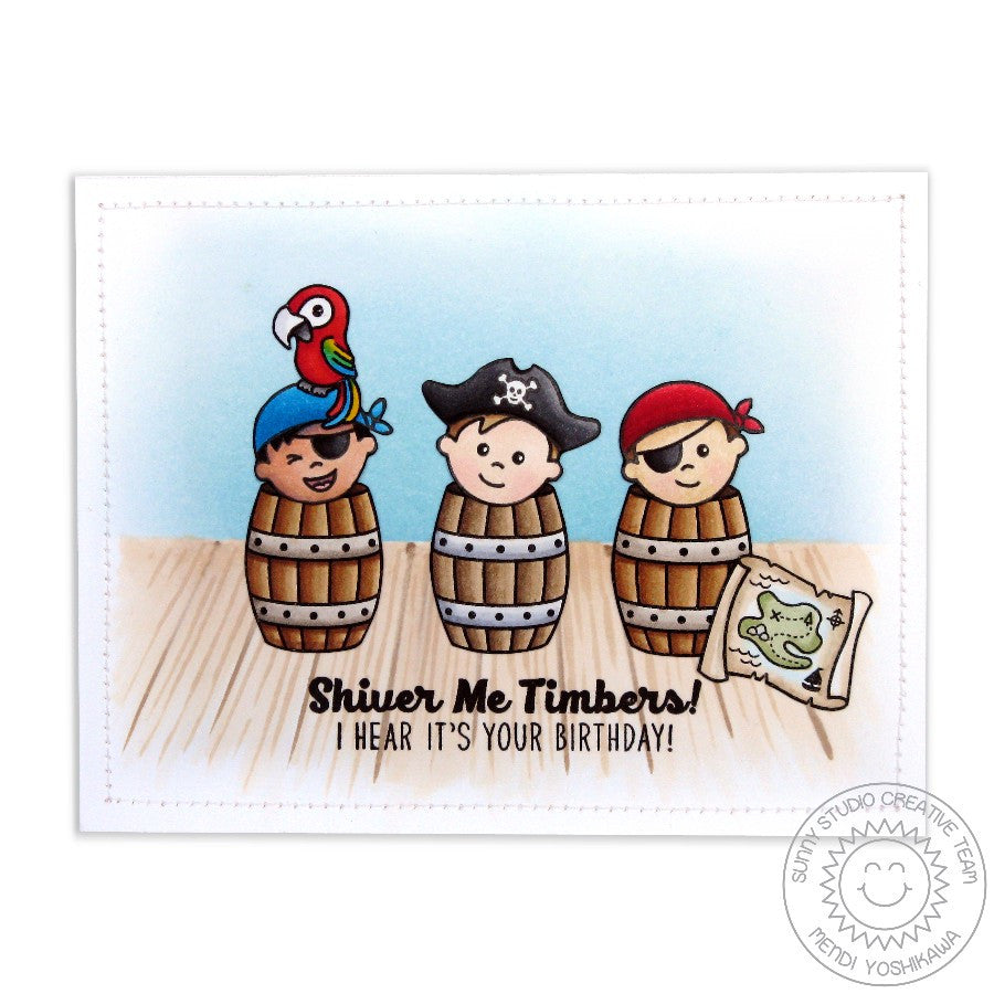Sunny Studio Stamps Pirate Pals Pirates Hiding in Barrels Birthday Card