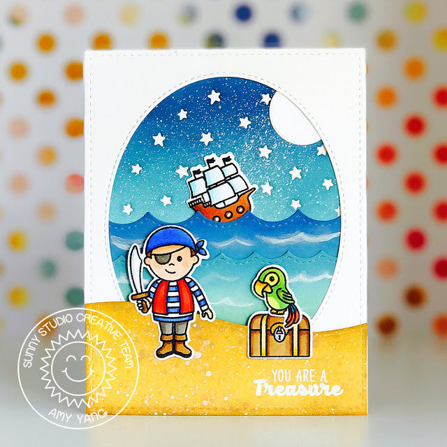 Sunny Studio Stamps Stitched Scallop Waves Pirate Card