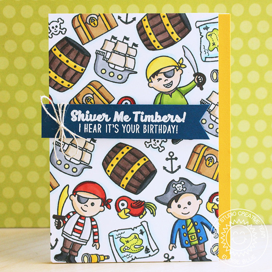 Sunny Studio Stamps Pirate Pals Shiver Me Timbers Birthday Card