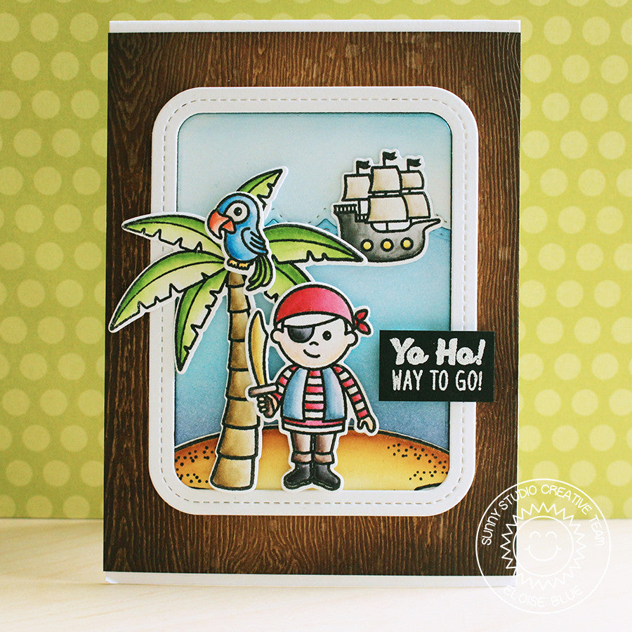 Sunny Studio Stamps Pirate Pals Yo Ho Way To Go Encouragement Card