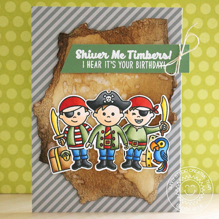 Sunny Studio Stamps Pirate Pals Pirates Trio Birthday Card